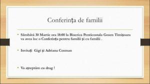Conferință pentru familii cu Gigi și Adriana Cosman la Biserica Gosen